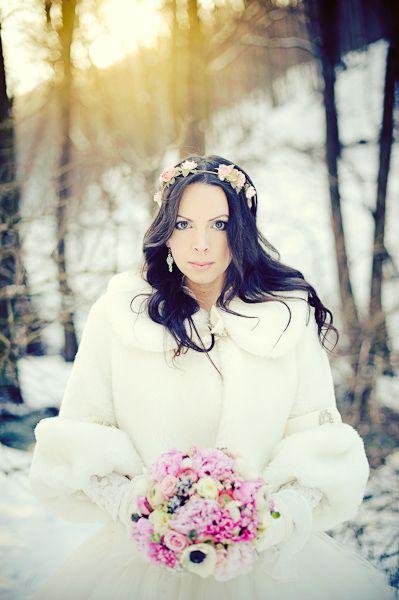 white faux fur wedding jacket