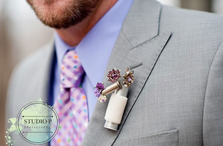 upcycled grooms boutonniere in silver and purple