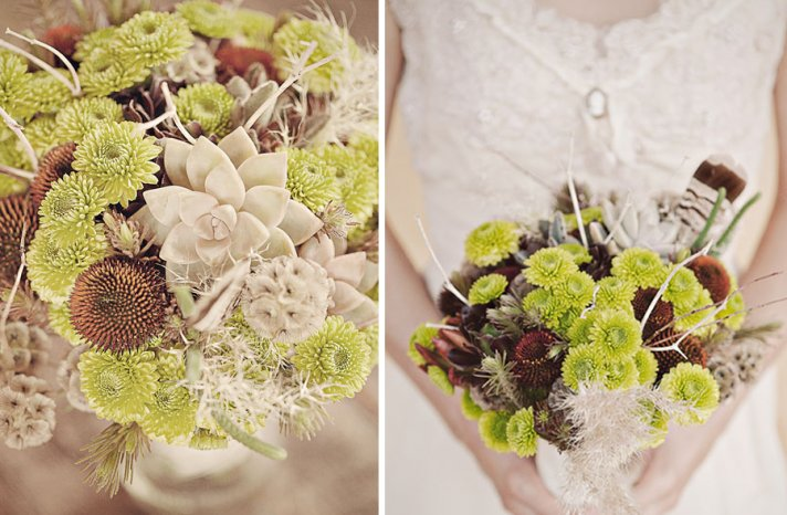 natural succulent bouquet with feathers 2