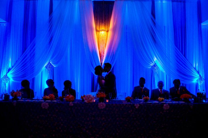 Head table with blue uplighting