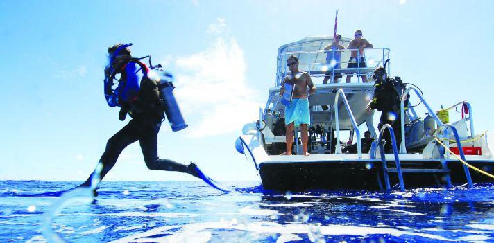 Bermuda scuba diver entering the water