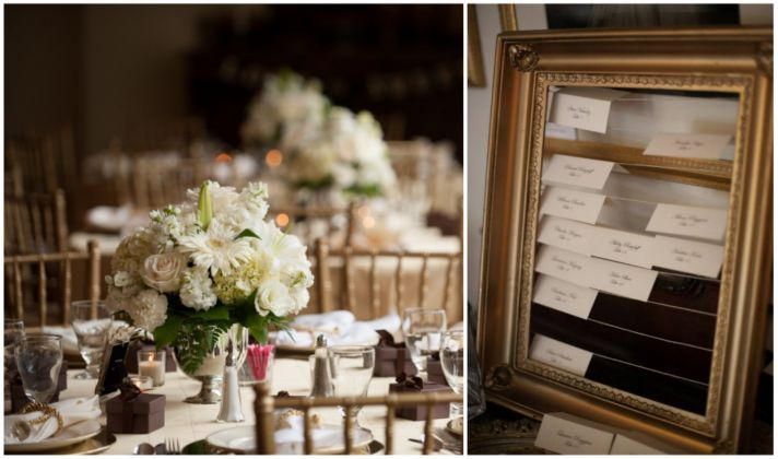 Vintage wedding decor in white and gold