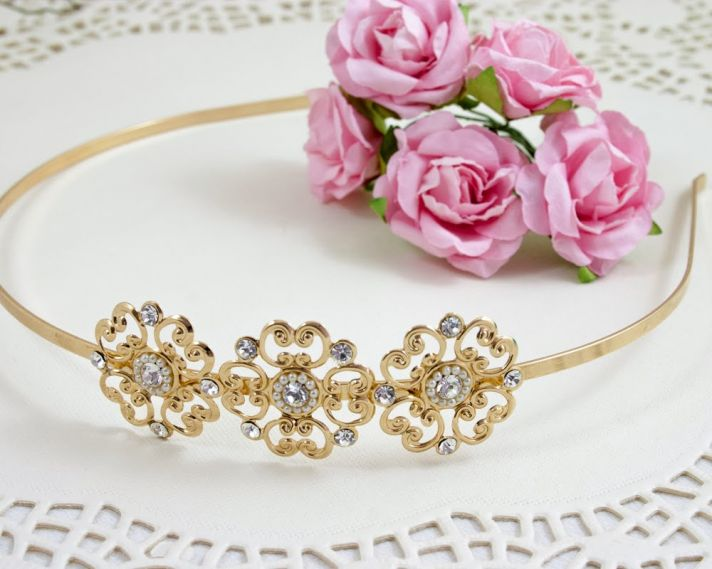 Gold bridal headband with bling
