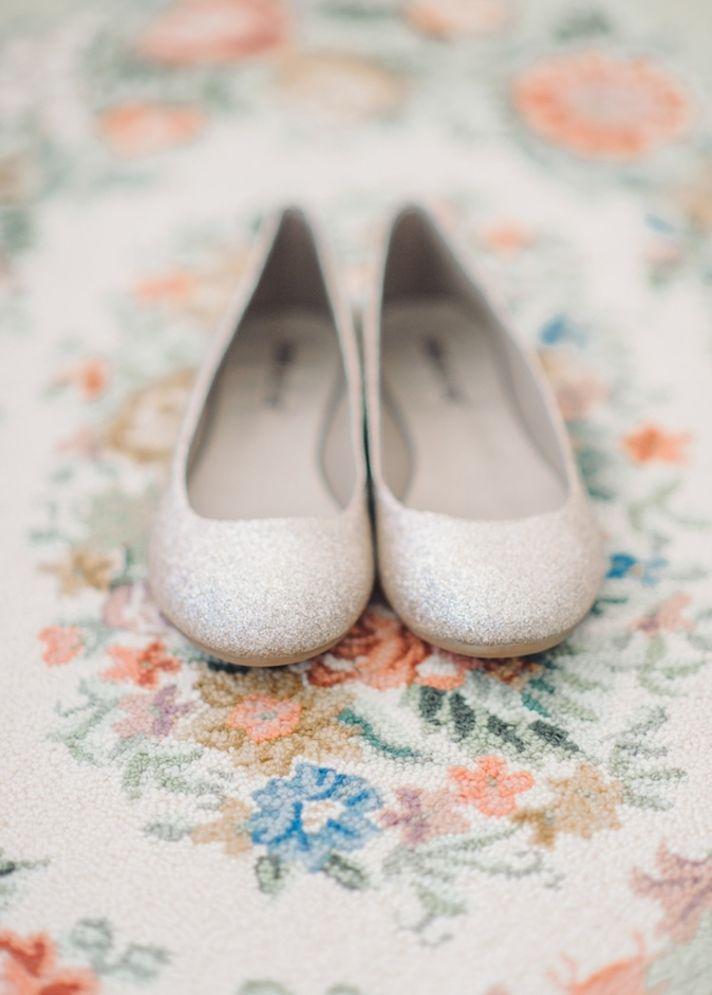 Glittery white wedding flats