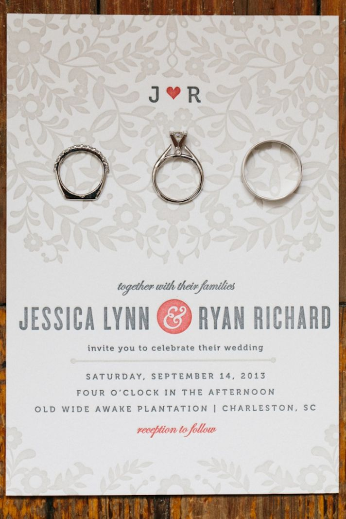 Letterpressed wedding invitation and rings