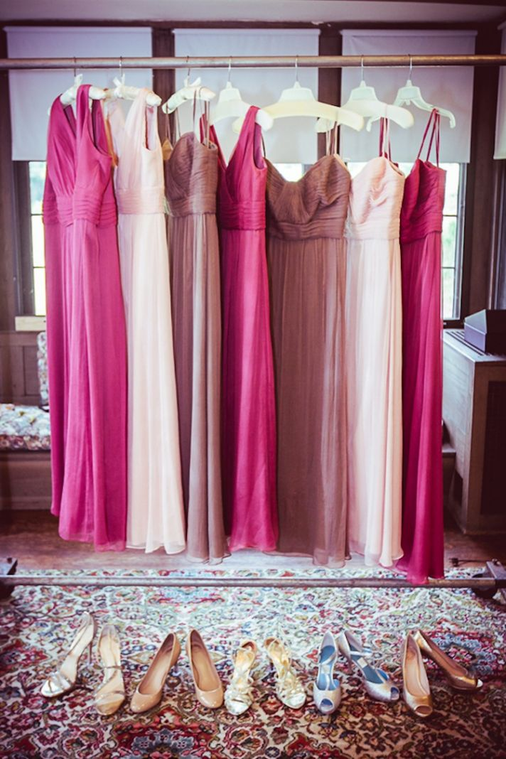 Bridesmaids dresses in three colors