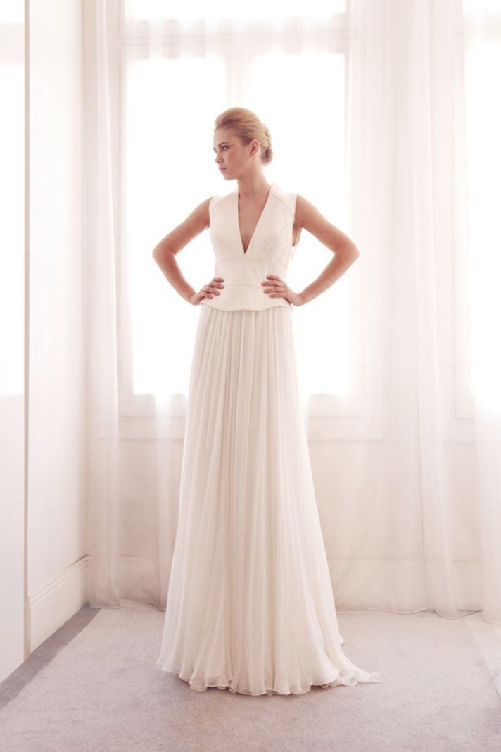 V neck wedding gown by Gemy Bridal