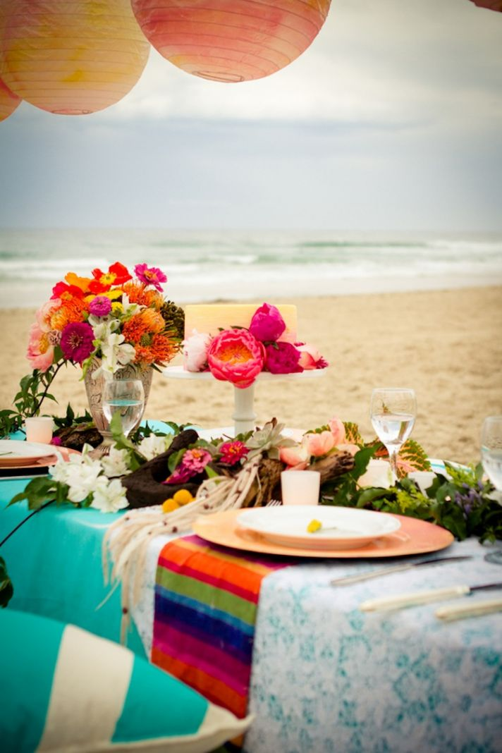 Beach reception decor in Australia