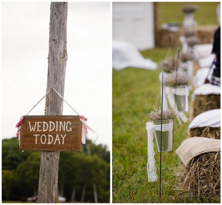 Rustic ceremony decor