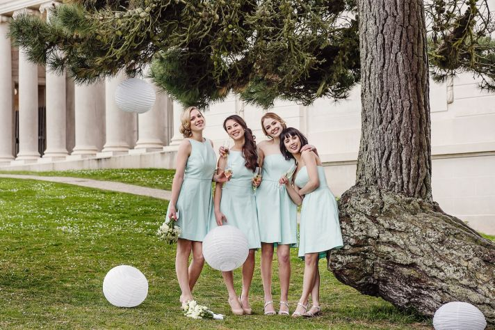 Bridesmaids dresses in mint by Weddington Way