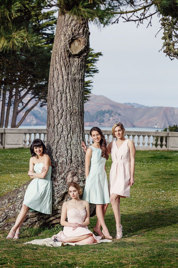 Mint and blush bridesmaids dresses by Weddington Way