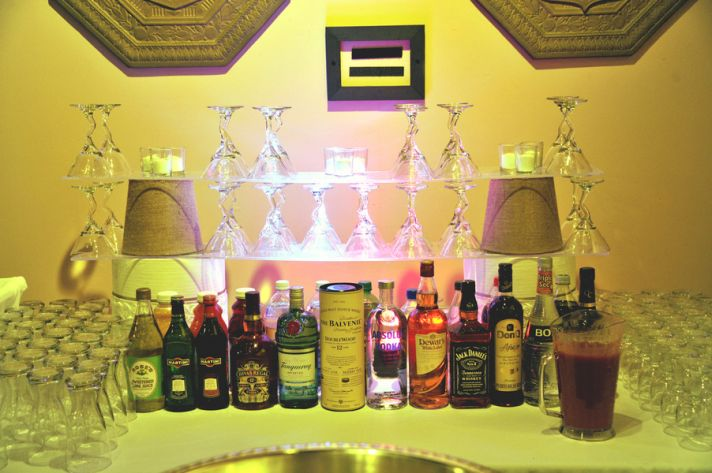 Modern bar at an indoor wedding reception