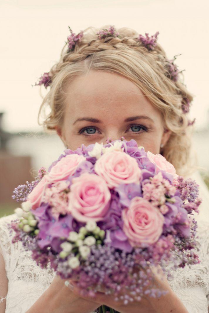 Norwegian bride makeup hair and bouquet