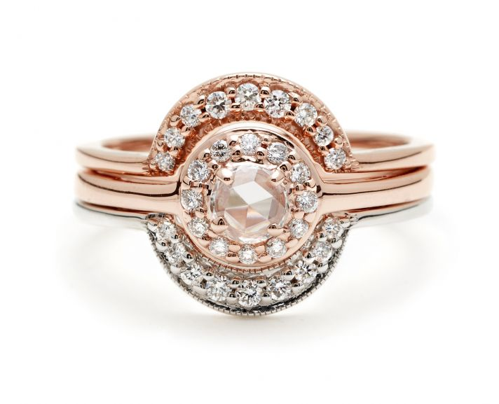 Tiny Rosette Rose Gold and Cresent Wedding Band Set