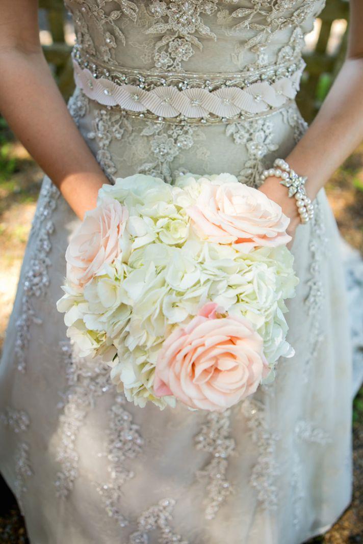 Pastel rose and hydrangeas bouquet