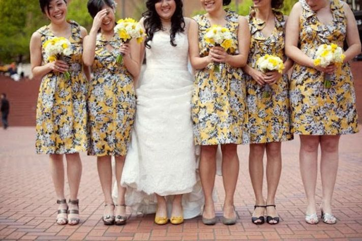 Yellow floral bridesmaids dresses