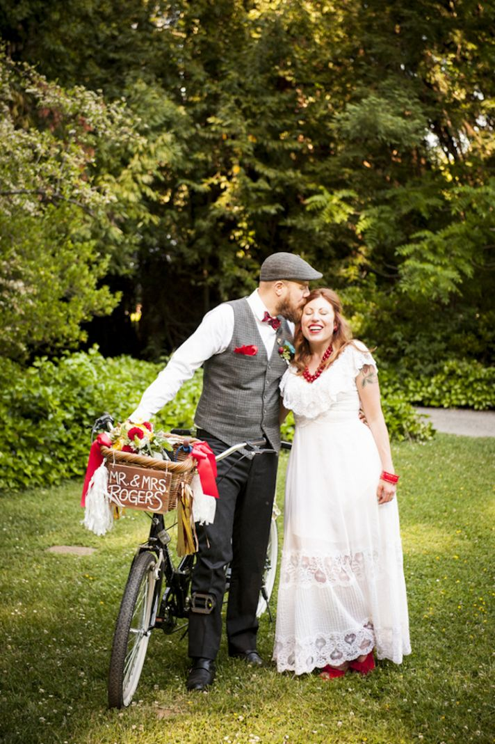 Hipster real wedding couple