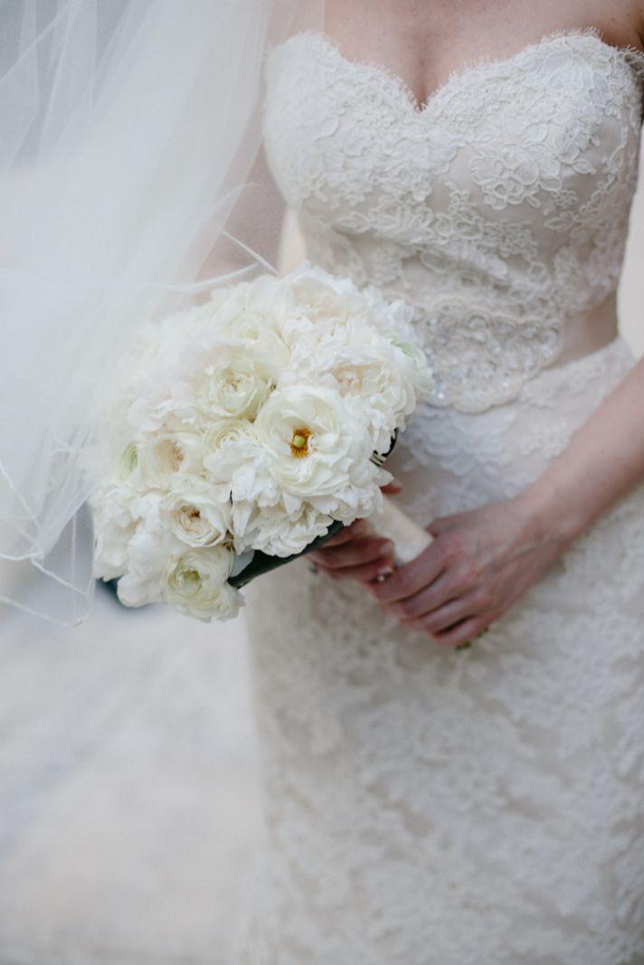 Classic white peony bouquet