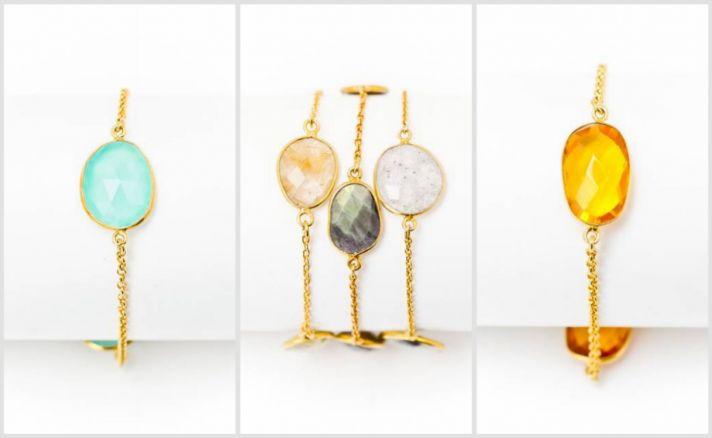 Large gemstone gold bracelets