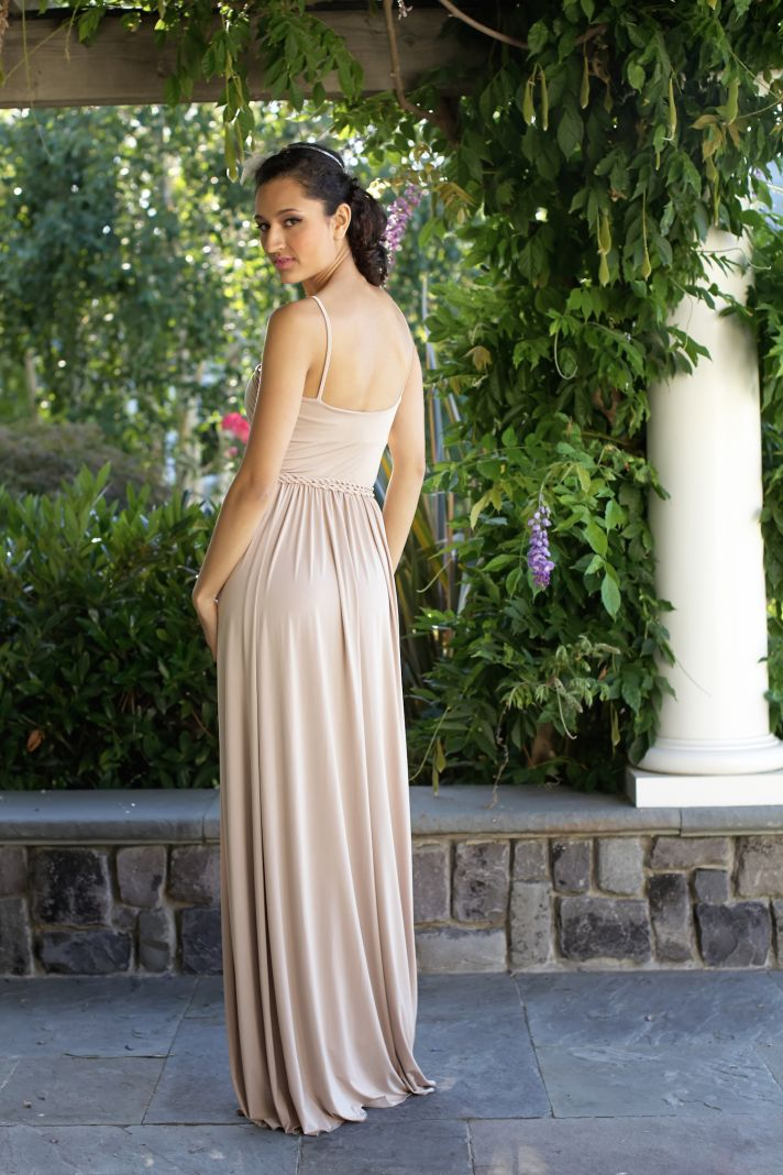 Neutral bridesmaids dress back