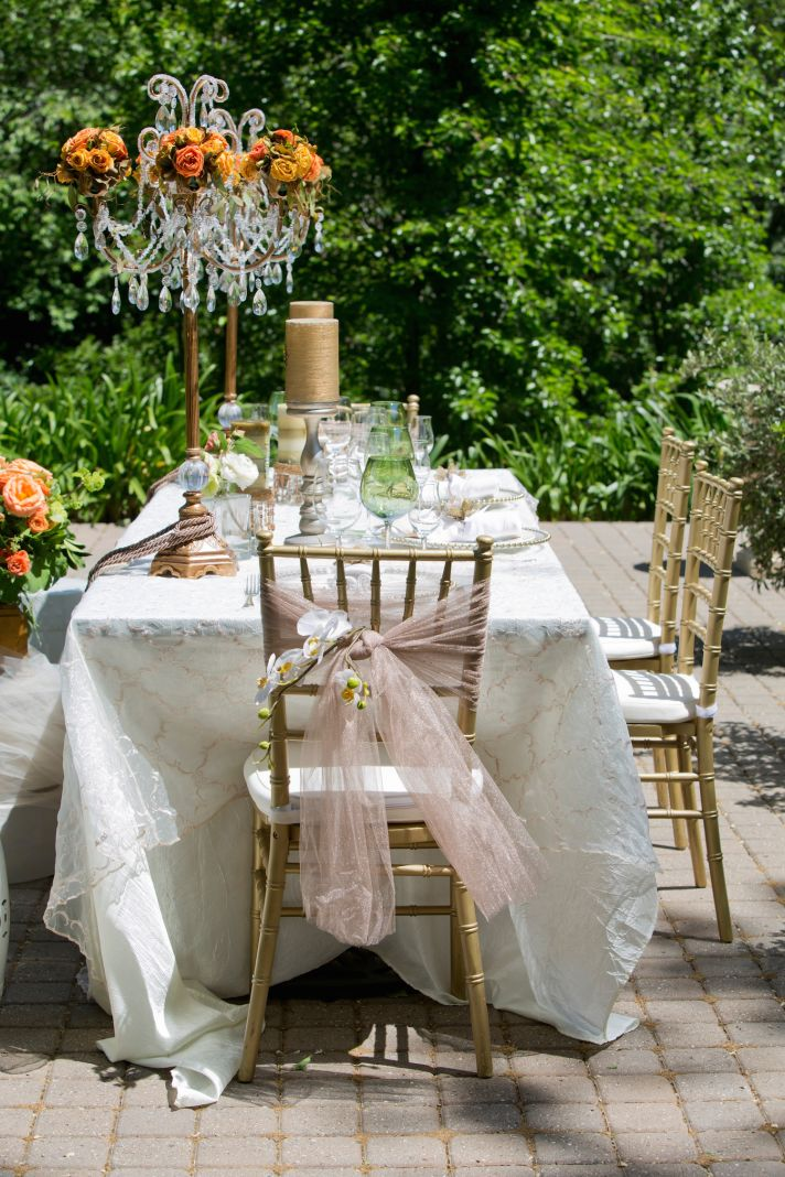 Romantic wine country reception table