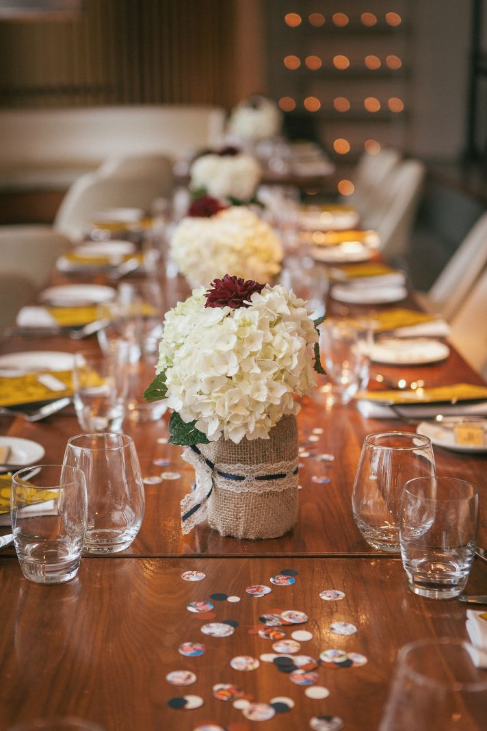 Simple hydrangea centerpieces