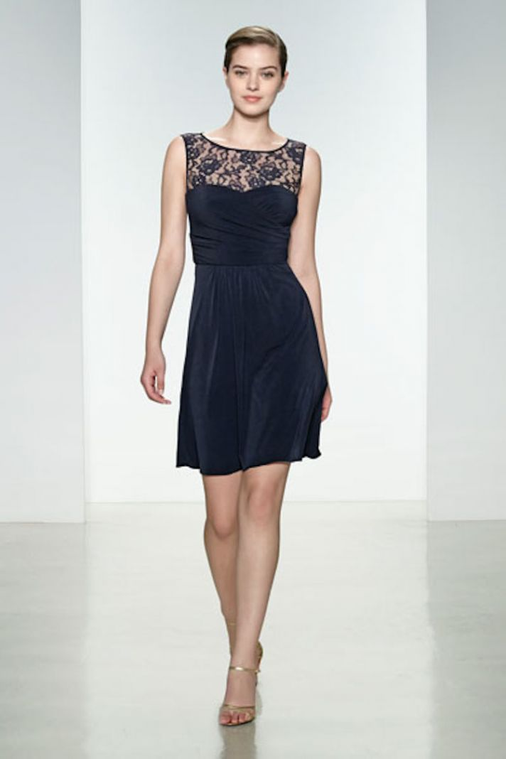 Navy Lace Illusion Neckline