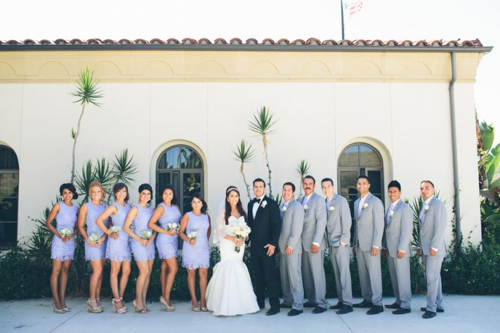 Gray Groomsmen Suits and Purple Dresses