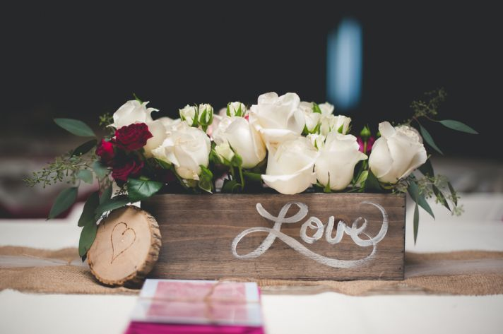 Wooden Love Box with White Roses