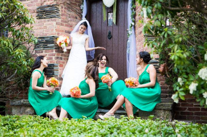 The Bride and Her Lovely Ladies Dressed in Green