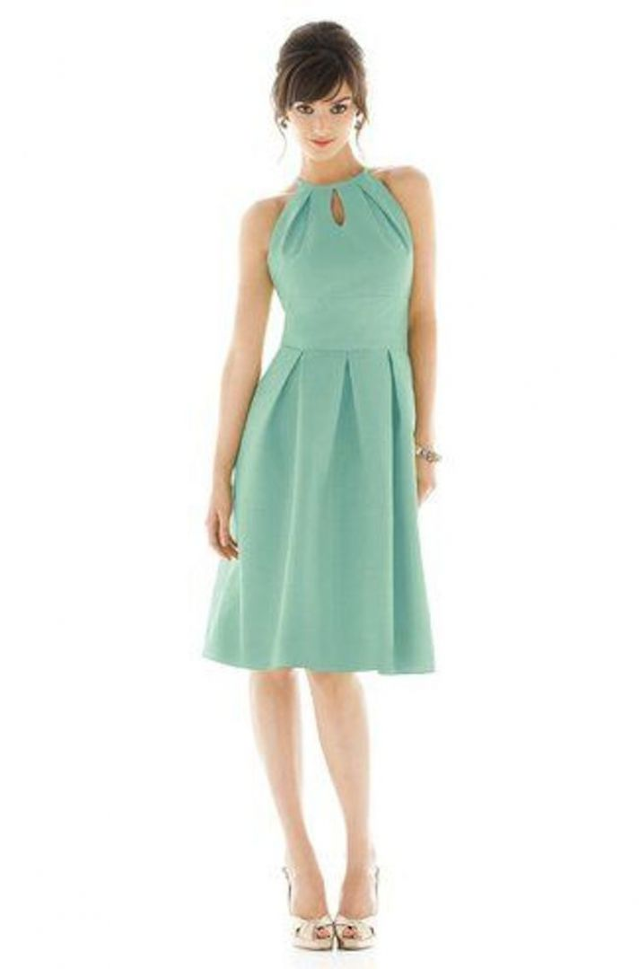 Short Mint Bridesmaid Dress with a Halter Neckline and Cut Out
