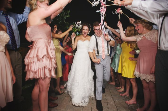 Ceremony Exit Under Ribbons