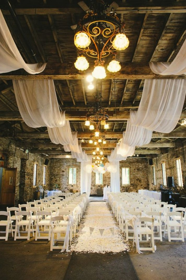 barn rustic drapery drapes ceremony indoor weddings decorations decor country aisle decoration reception venue draping lights ceiling party fabric theme
