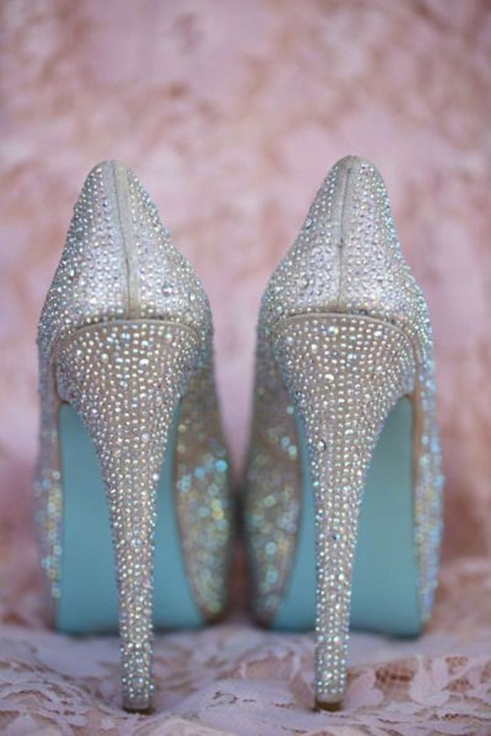 Blue Soles On Wedding Shoes