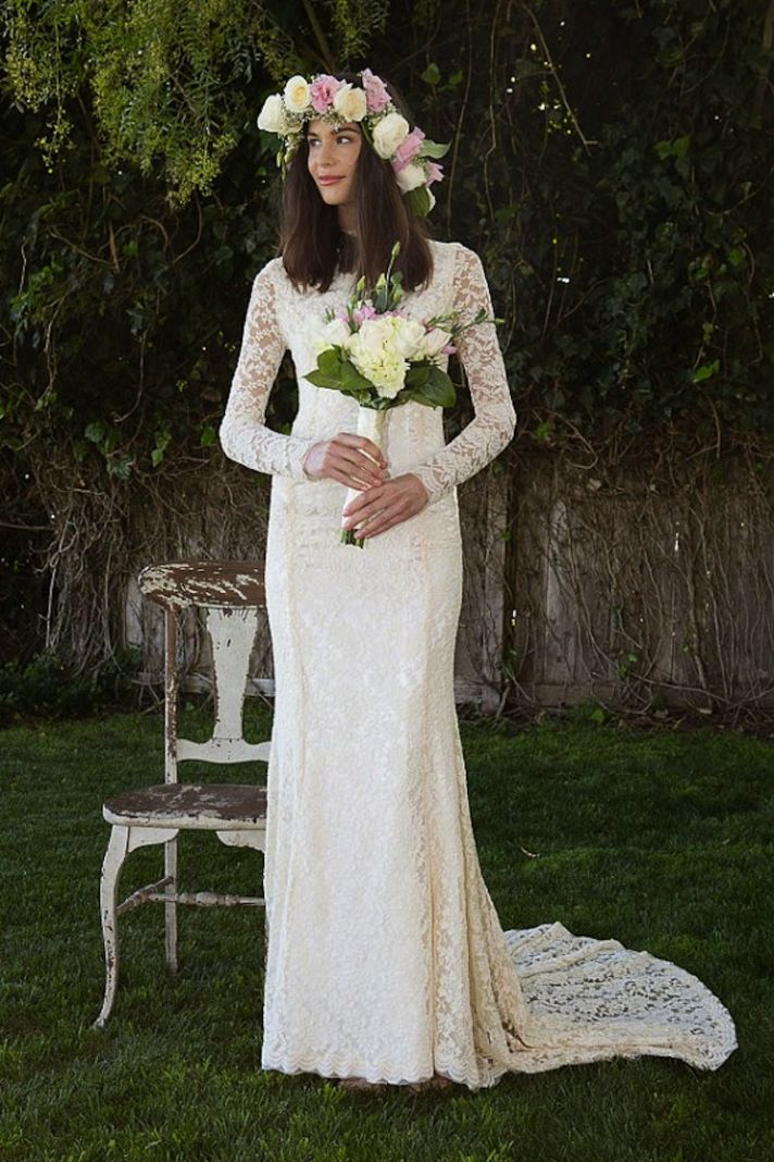 Lace Dress with Long Sleeves and Train