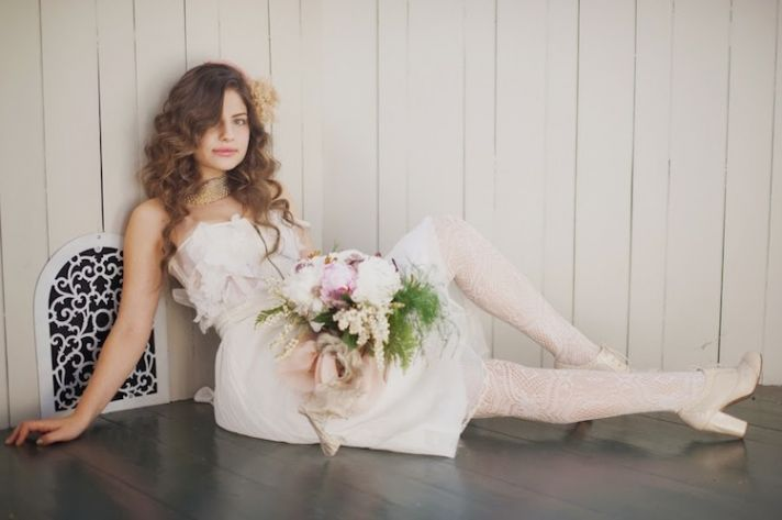 Short Wedding Dress with White Tights