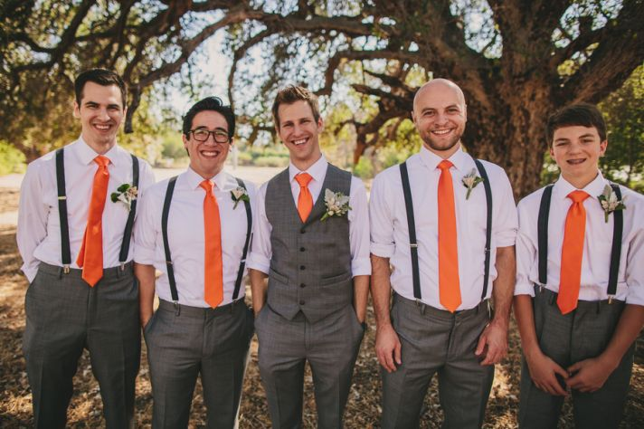 Orange Tied Groomsmen and Groom