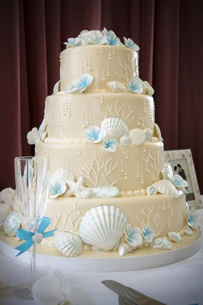 Wedding Cakes Photos on Destination Wedding Cake Beach Theme 4 Tier Ivory Sand Blue Tropical